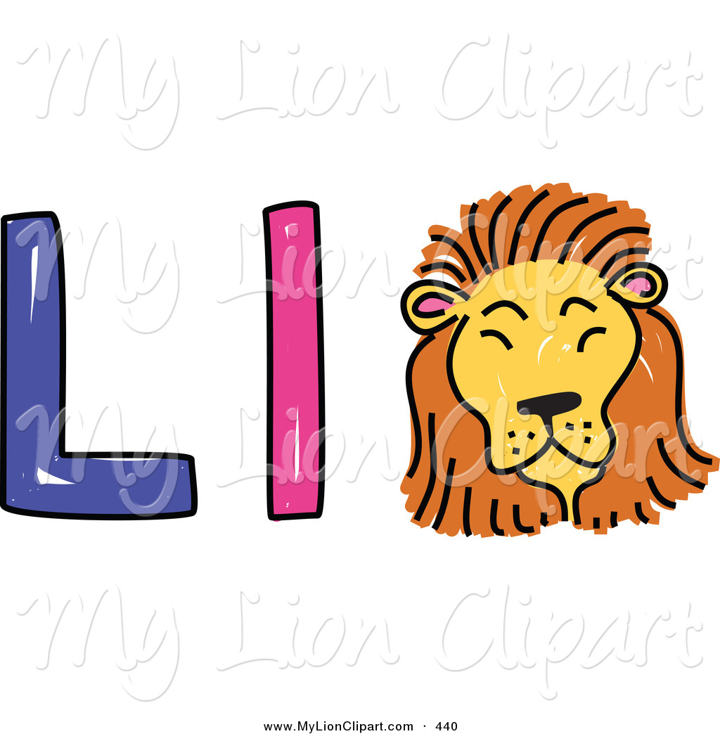 Clipart of a Childs Sketch of a Capital and Lowercase Letter L.