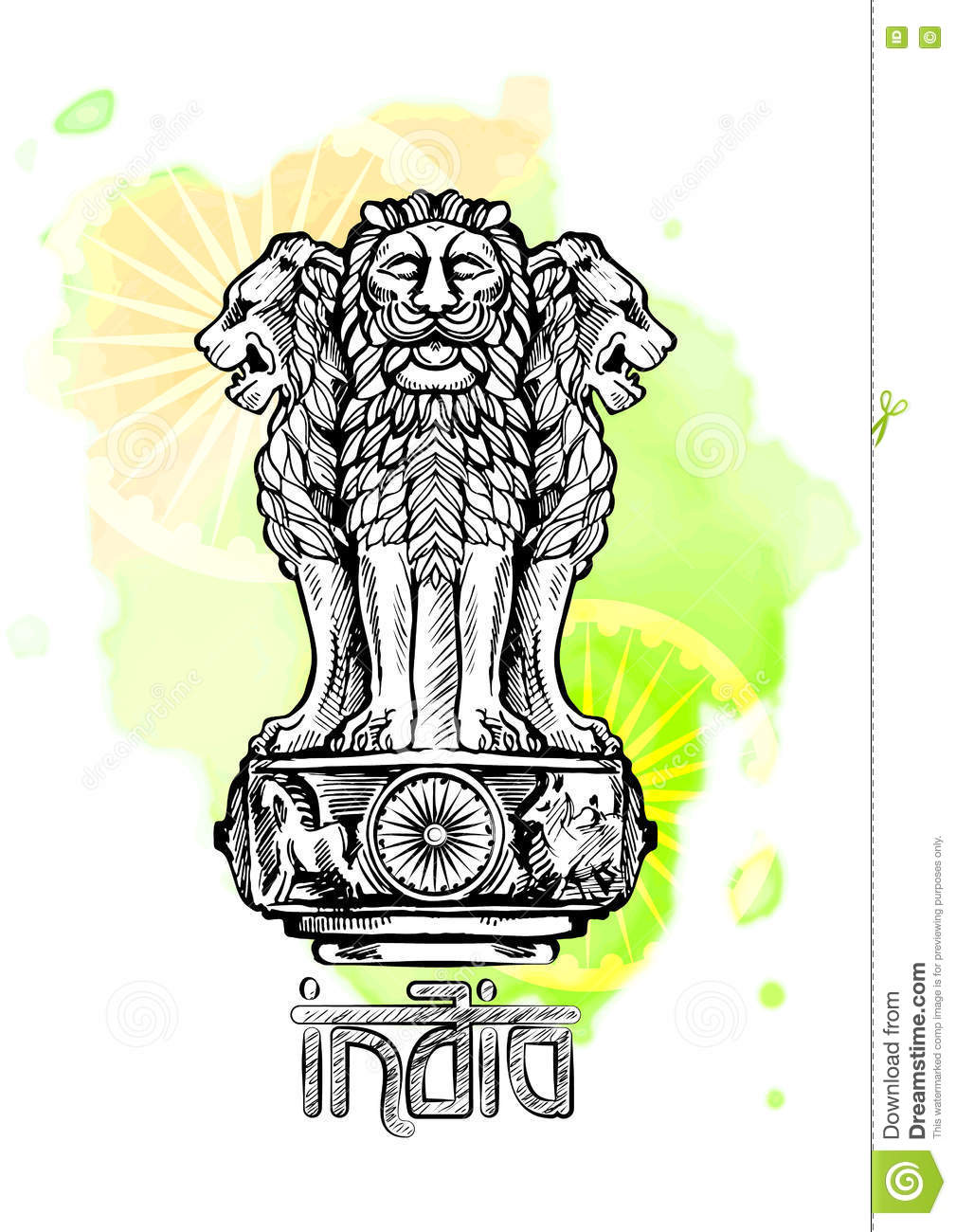 Lion Capital Of Ashoka In Indian Flag Color. Emblem Of India.
