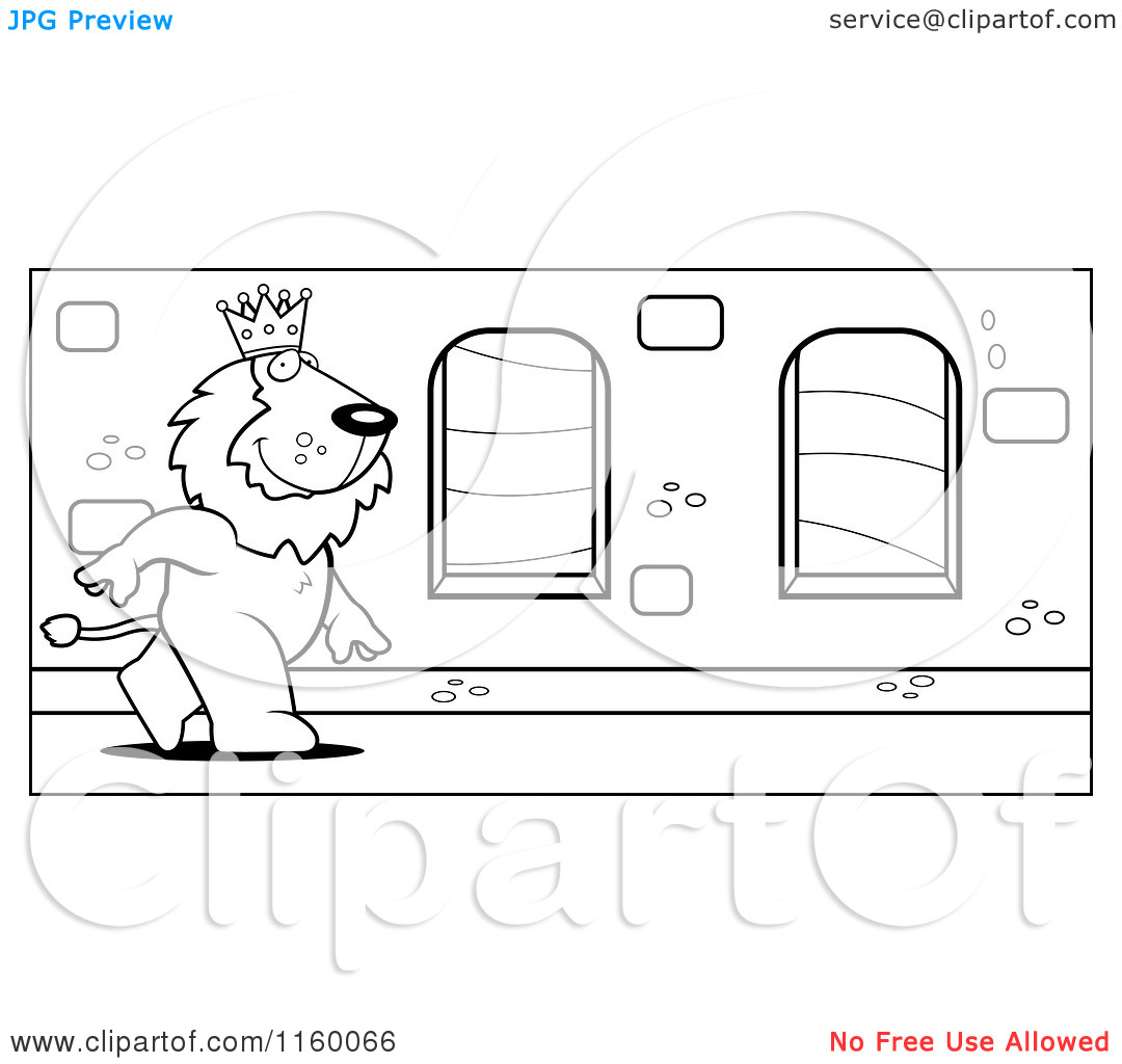 Cartoon Clipart Of A Black And White King Lion Walking down a.