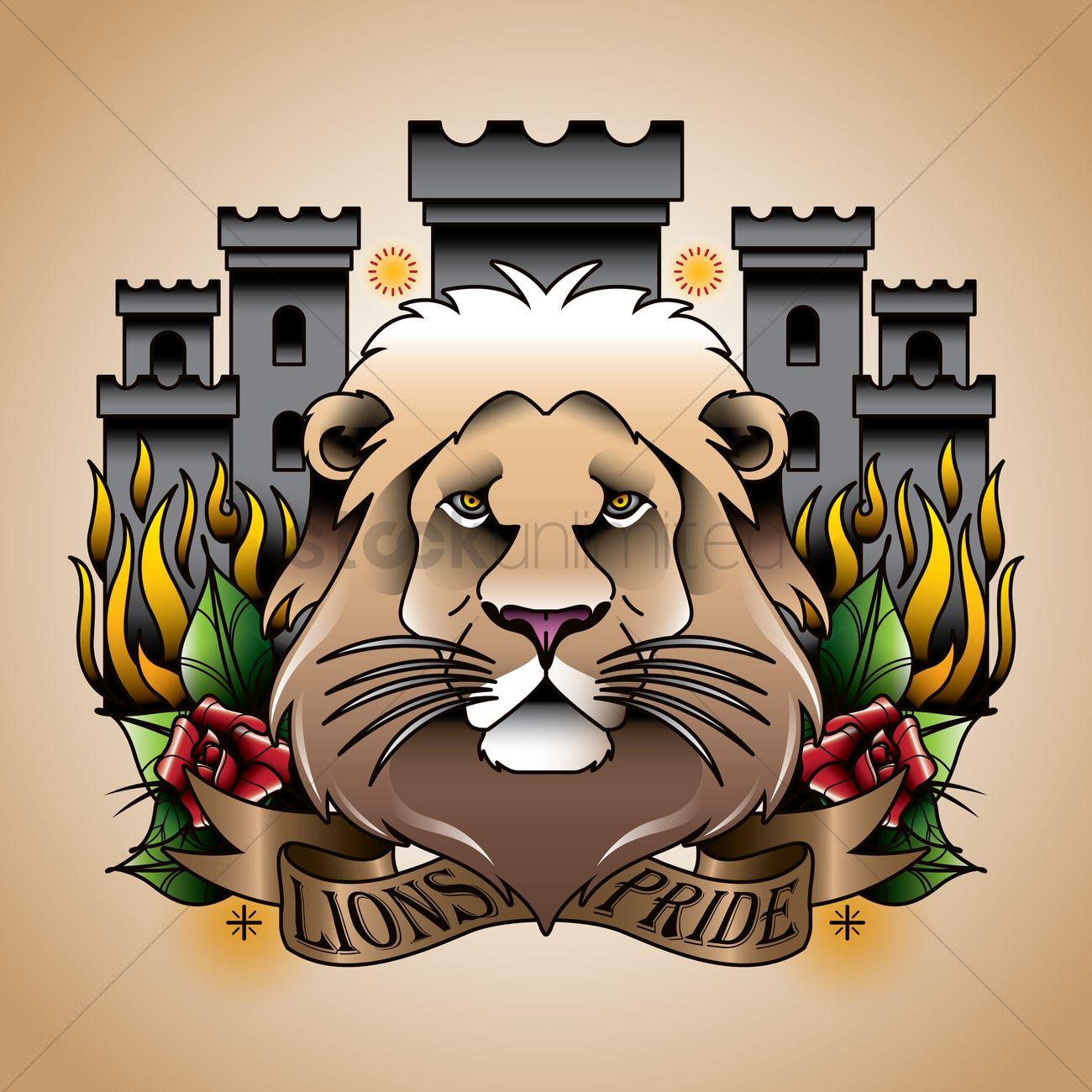 Castle design with lion pride text Vector Image.