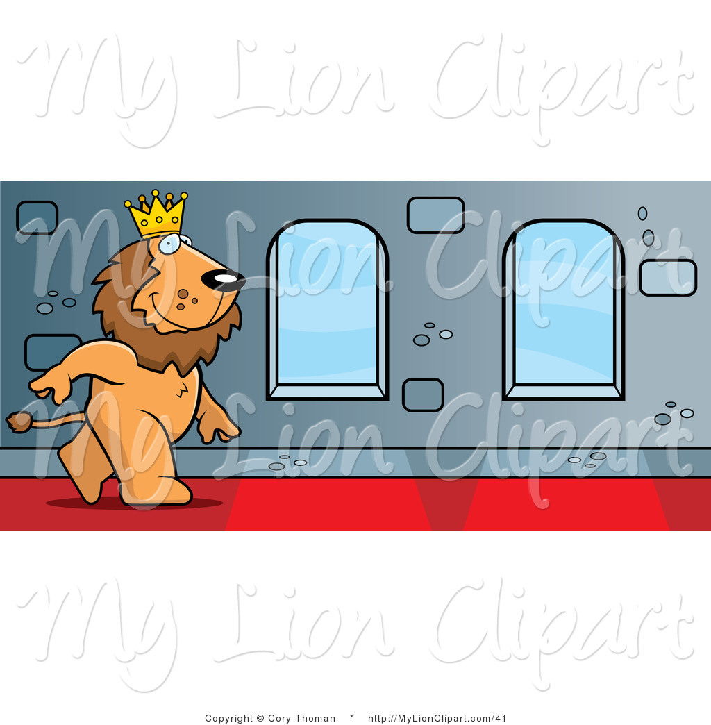 Clipart of a King Lion Character Walking down a Red Carpeted.
