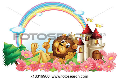 Clipart of A lion wearing a crown beside the castle k13319960.