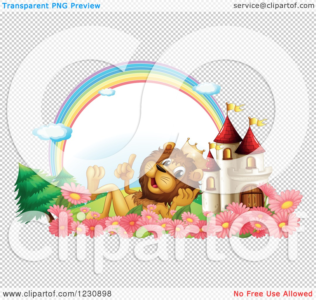 Clipart of a King Lion by a Castle Under a Rainbow.