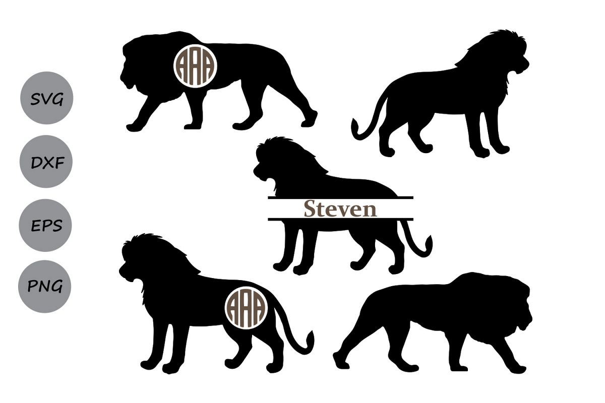 lion SVG, lion monogram svg, lion cut file, animal svg, lion silhouette,  Cricut files, lion clipart, animal monogram, svg, dxf, eps, png..