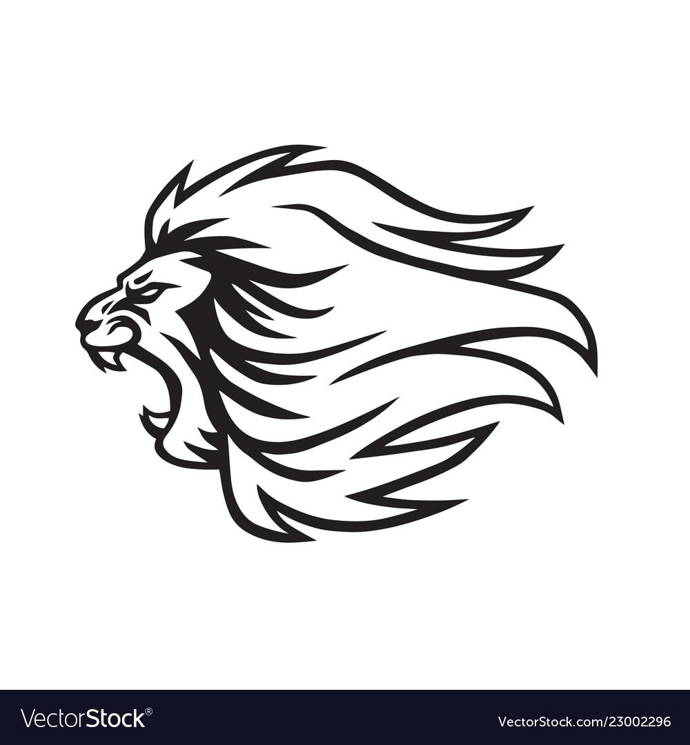 Angry lion roaring logo mascot icon.
