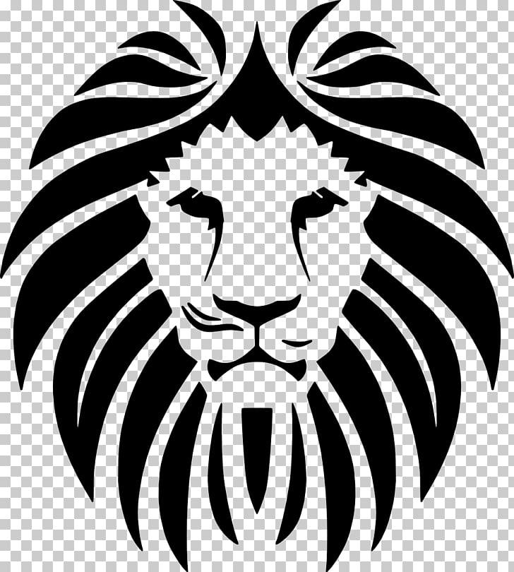 Lionhead rabbit Roar , lion, black Lion tribal art PNG.