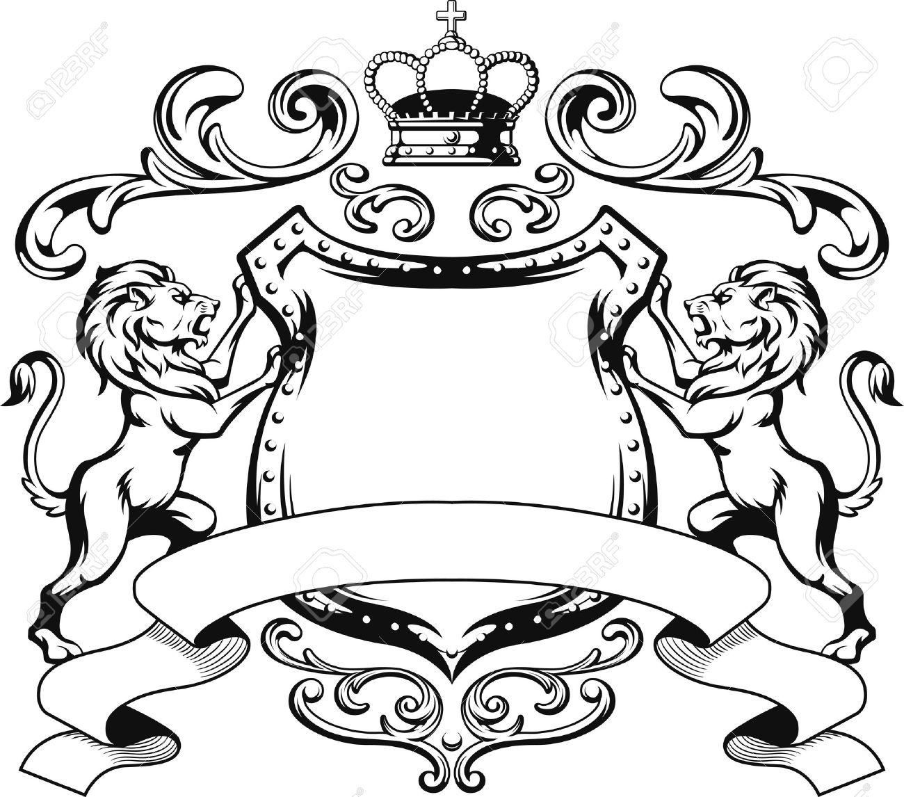 Heraldic Lion Shield Crest Silhouette.