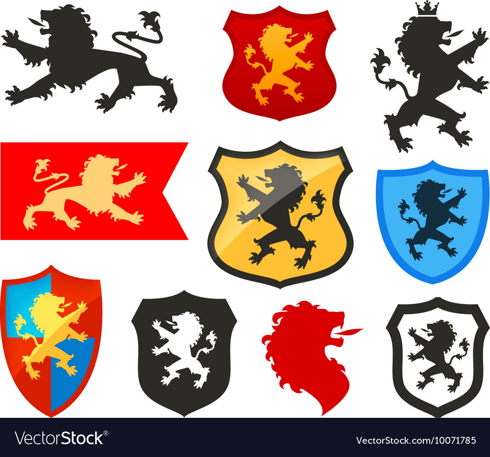 Shield with lion heraldry logo Coat of.