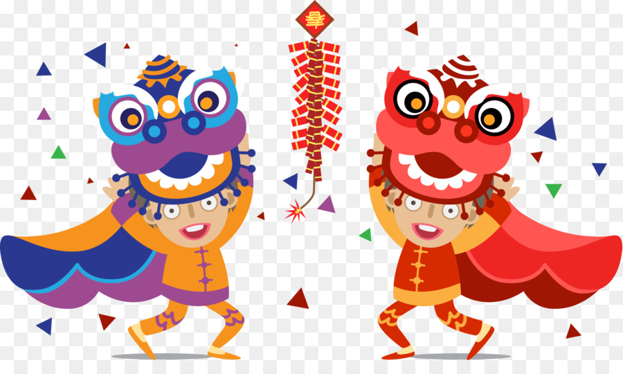 Chinese New Year Lion Dance Cartoon png download.