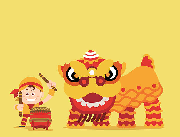 Best Chinese Lion Dance Illustrations, Royalty.