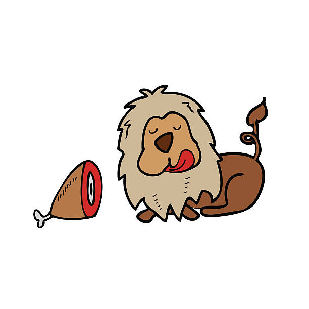lion eating clipart #11