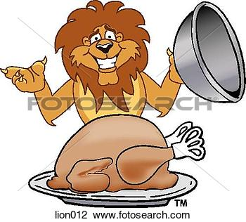 lion eating clipart #6