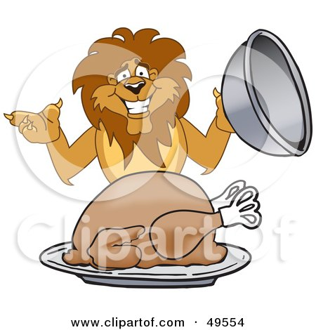 lion eating clipart #1