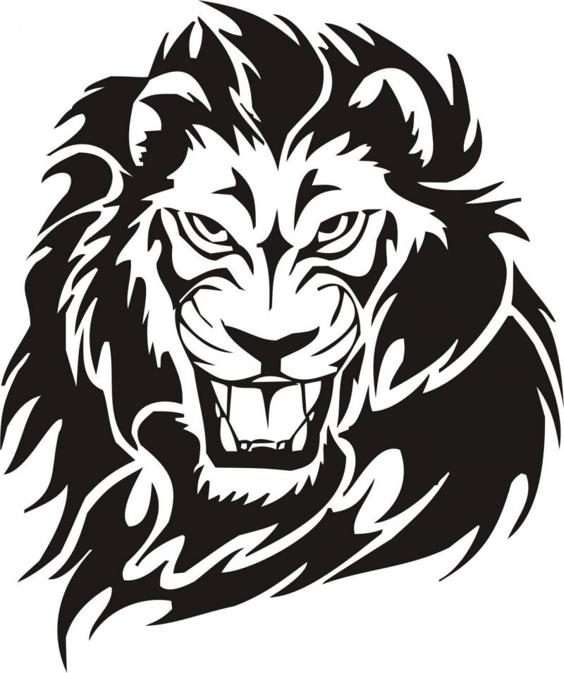 lion head clipart for kids black and white #6