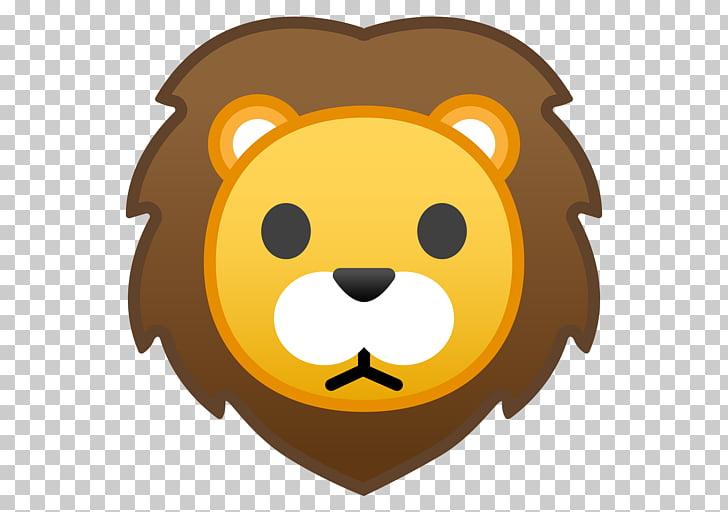Emoji Lion , lion face, brown lion illustration PNG clipart.