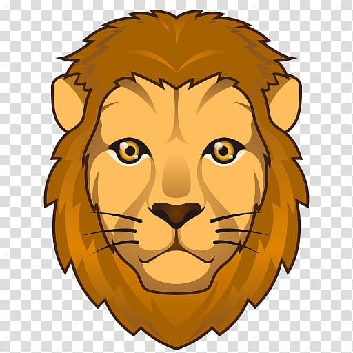 Lion Emoji Drawing Text messaging , lion face transparent.