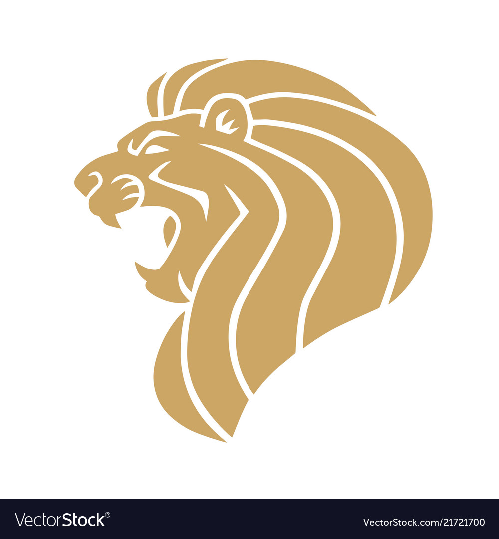 Gold lion head logo.