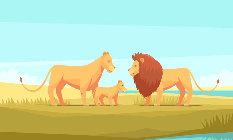 Wild Lion Family Composition.