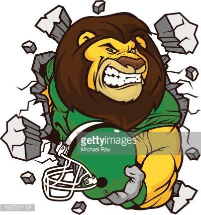 Lion Football Player Smash Clipart Image.