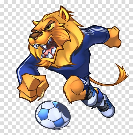 Lion soccer player illustration, Detroit Lions Mascot.