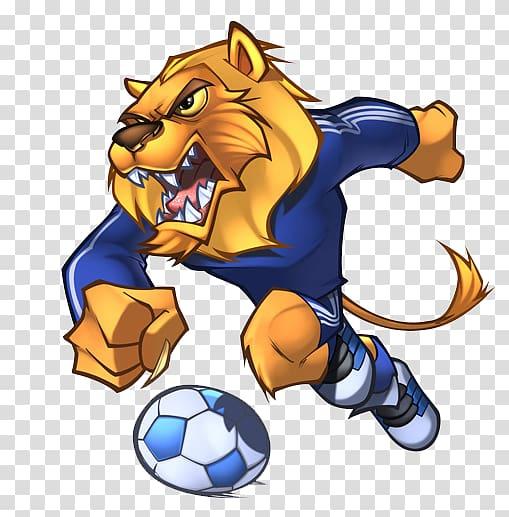 Lion soccer player illustration, Detroit Lions Mascot.