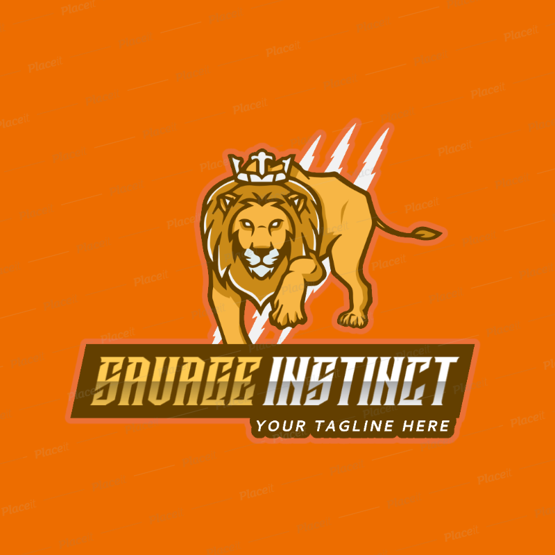 Gaming Logo Generator with a Savage Lion Graphic 2704c.