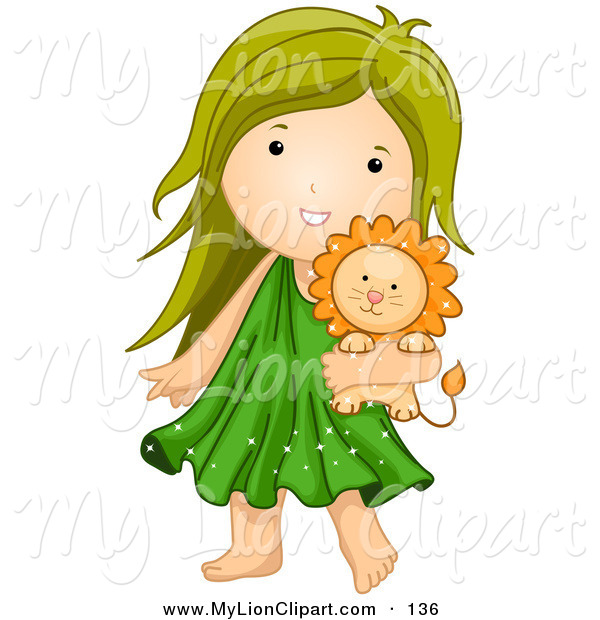 Clipart of an Astrological Cute Leo Girl Carrying a Stuffed Lion.