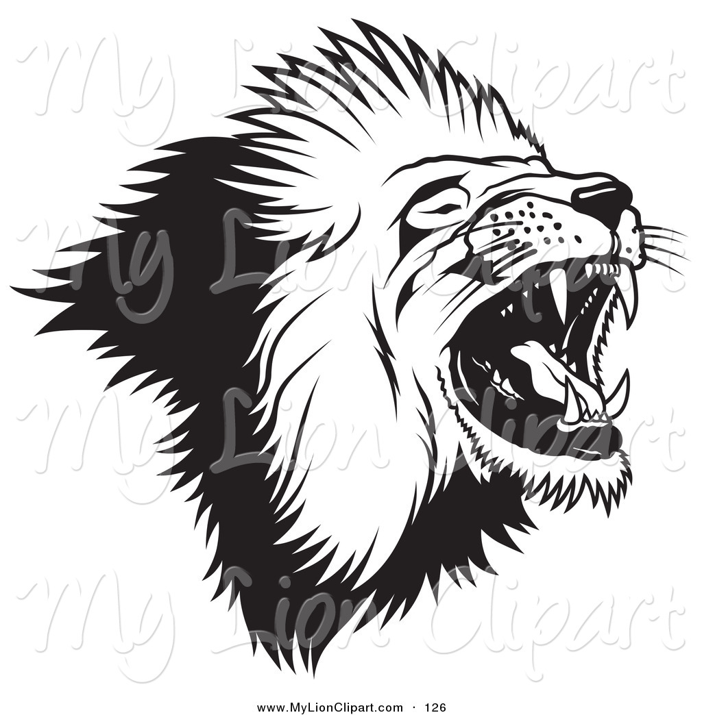 lion head black and white clipart #9