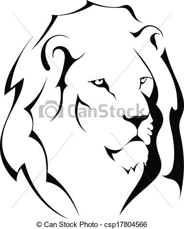 lion head black and white clipart #7