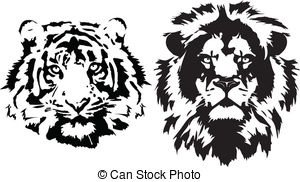 lion head black and white clipart #6