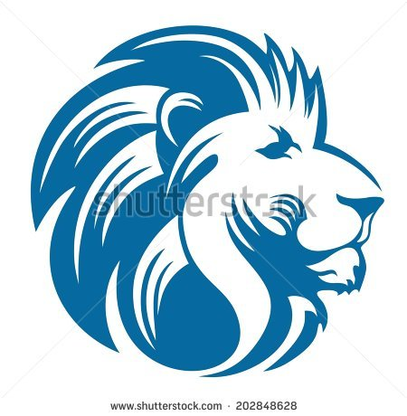lion head black and white clipart #3