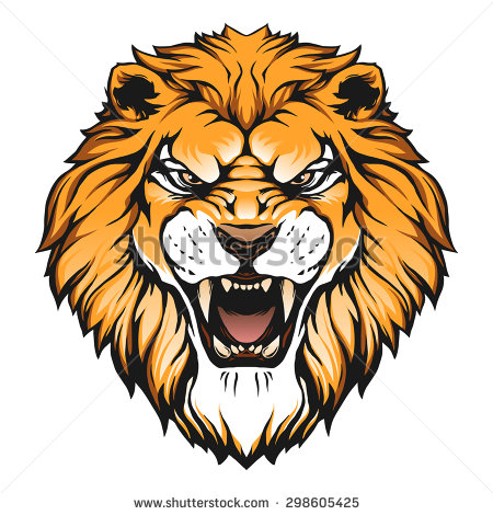 Color lion head clipart.