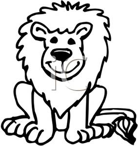lion head clipart for kids black and white #5