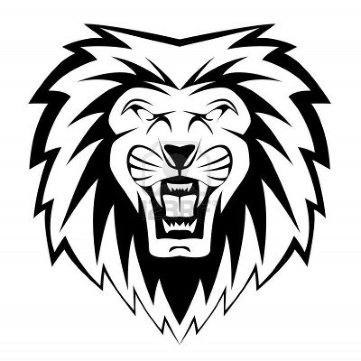 lion head clipart for kids black and white #10