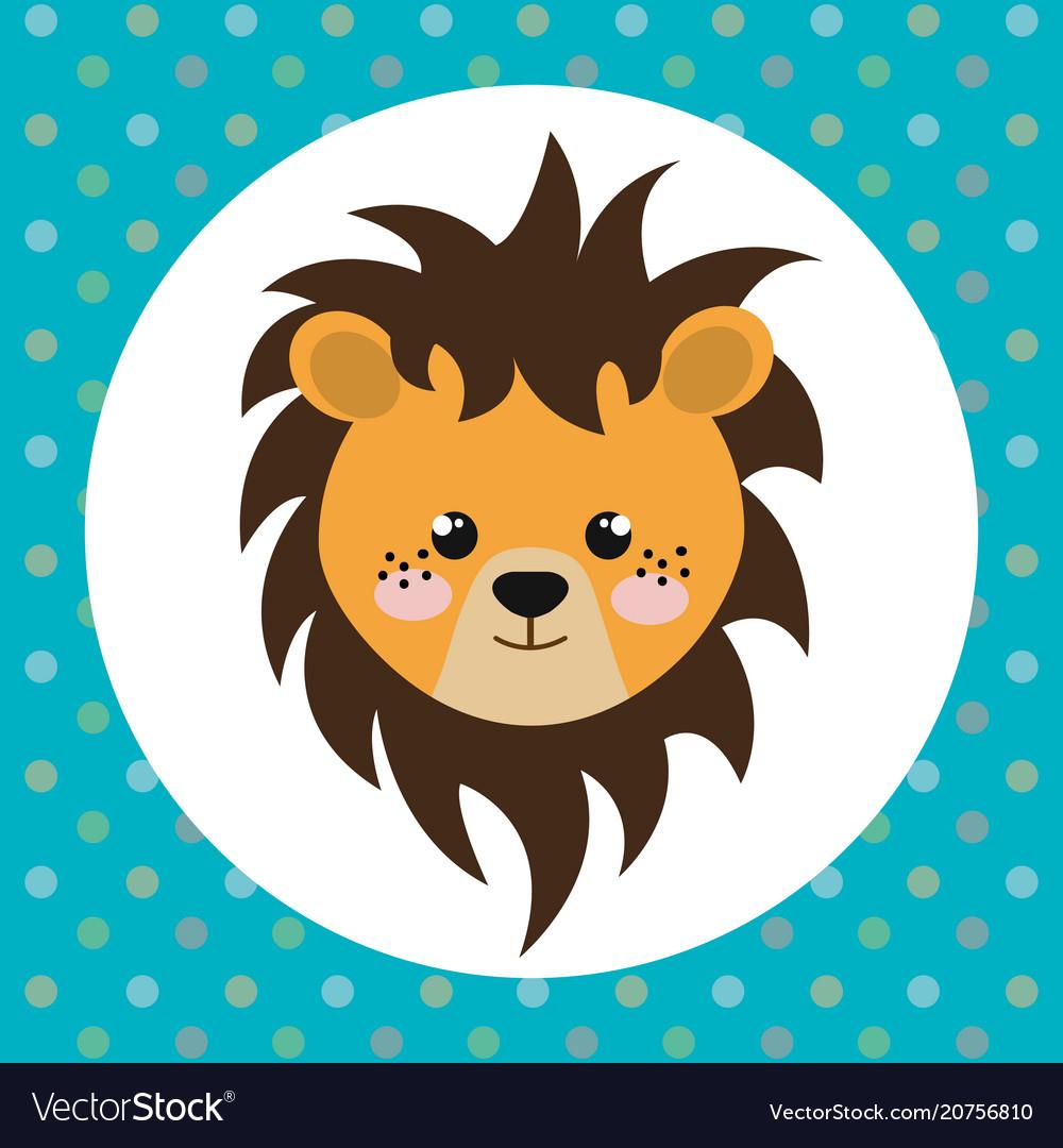 Cute lion head tender character.