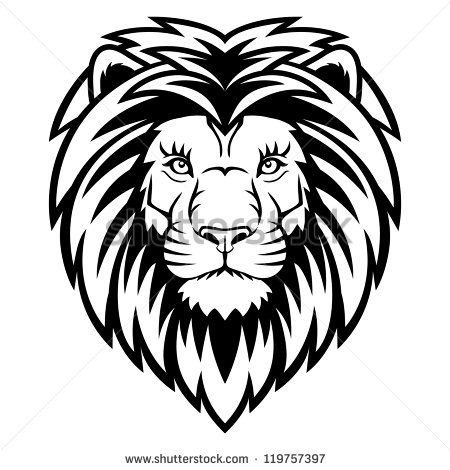 A Lion head logo in black and white. This is vector.