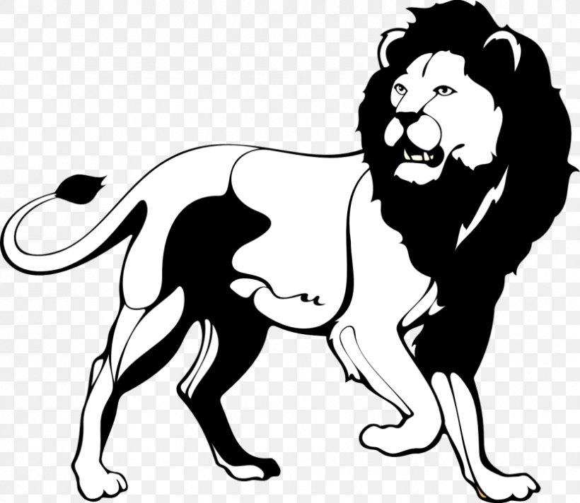 Lion Black And White Roar Clip Art, PNG, 830x721px, Lion.