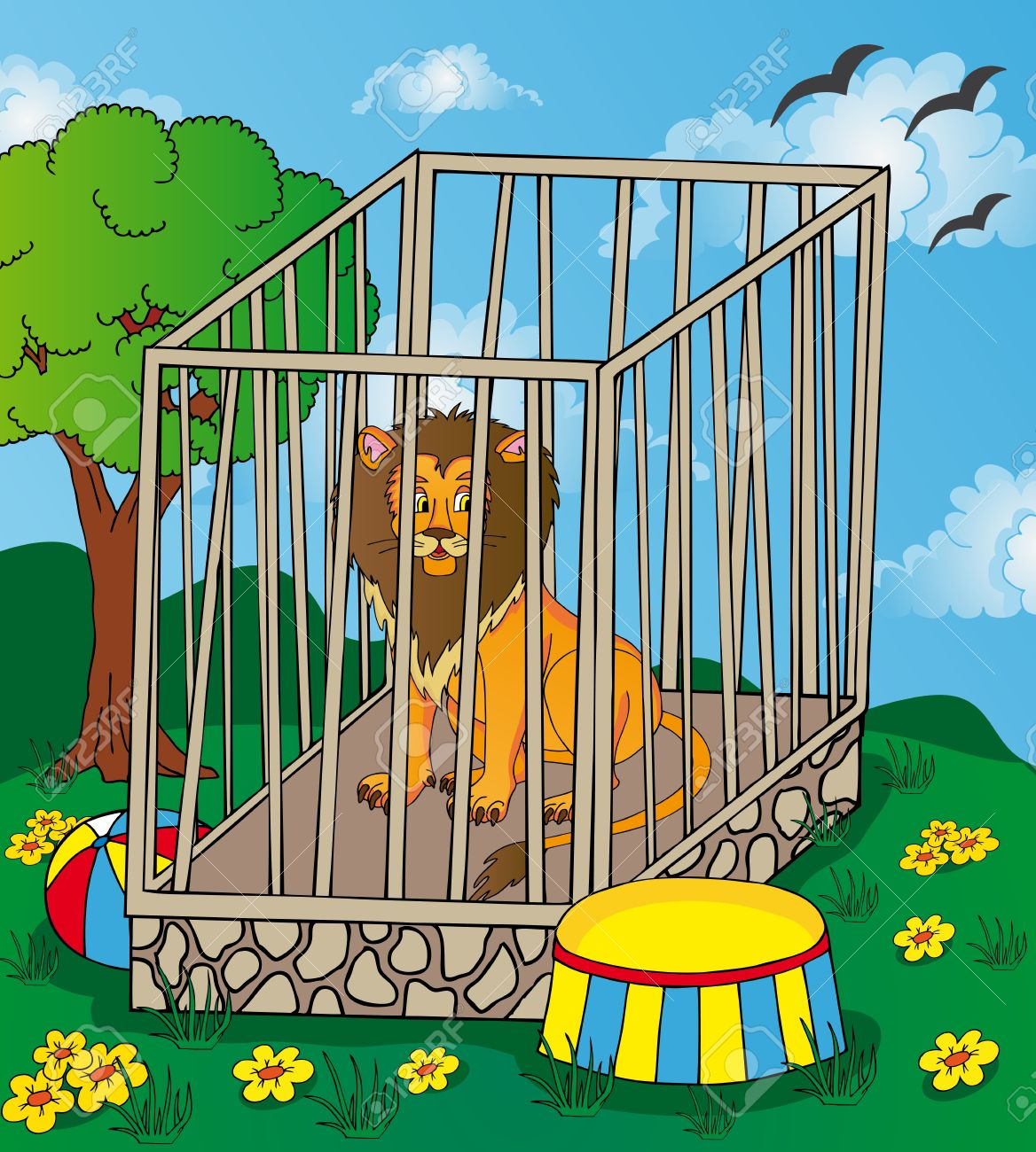 Lion in cage.