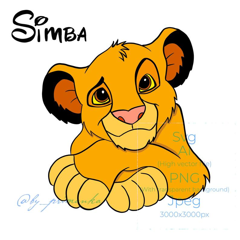 Simba svg lion king png printable DIGITAL art + FREE Coloring lion baby  (line art). Cartoon lion cut file..