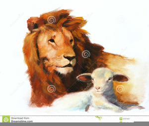 Lion And Lamb Royalty Free Clipart.