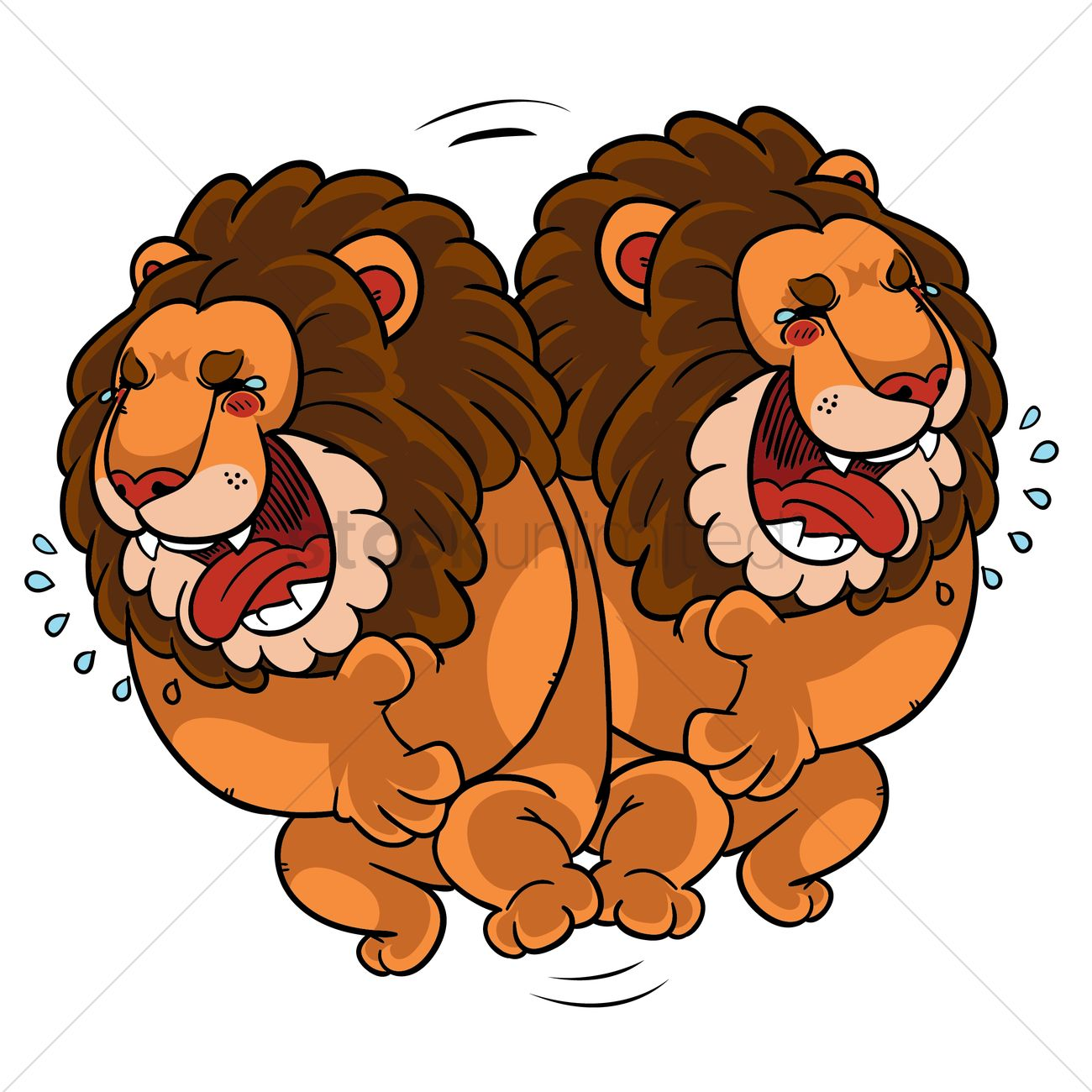 Cartoon lion rolling on floor laughing Vector Image.