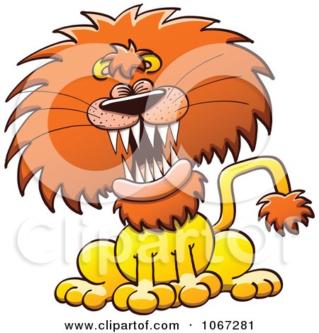 Clipart of a Cartoon Male Lion Laughing.