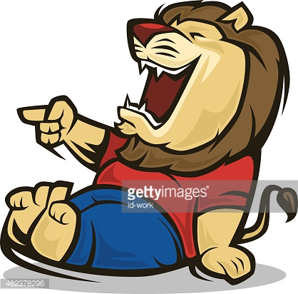 Lion Laughing And Pointing Vector Art.