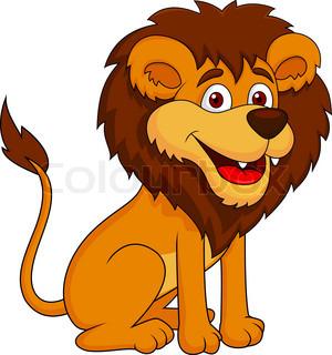 Vector illustration of Happy carton lion posing.