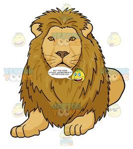 Male Lion Lying Down.