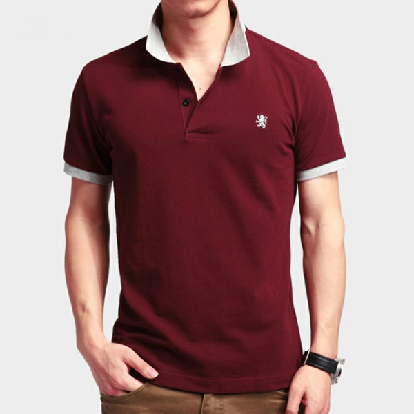 Business Casual POLO Shirt Embroidery Lion Logo Classic Fashion Men\'S Brand  Design T Shirt Lapel Double Buckle Clothes T Shirt Crazy T Shirts Designs.