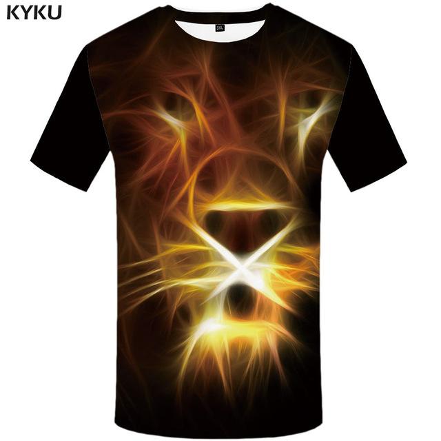 KYKU Brand Lion T shirt Animal Clothes.
