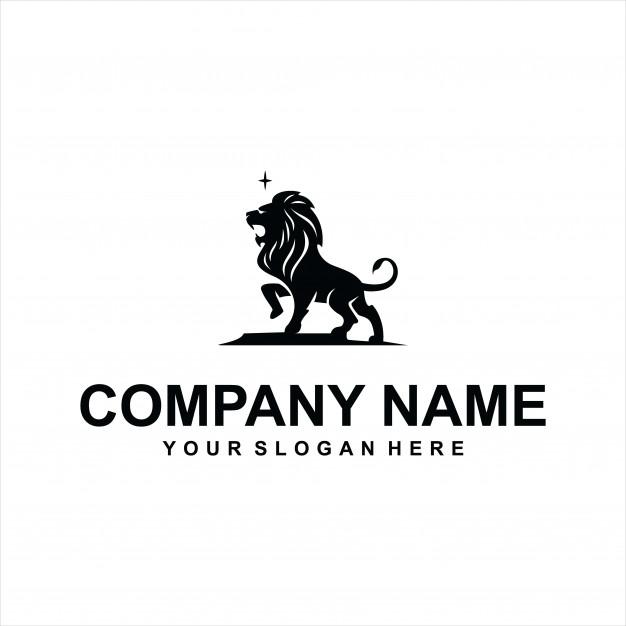 Black lion logo vector Vector.
