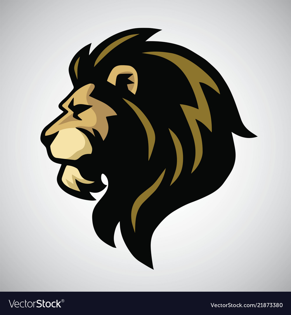 Angry lion head mascot logo.