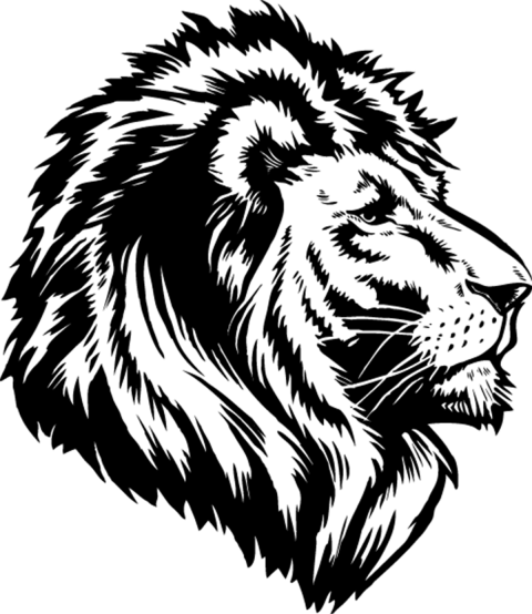Tattoo Lioness Head PNG HD Vector.